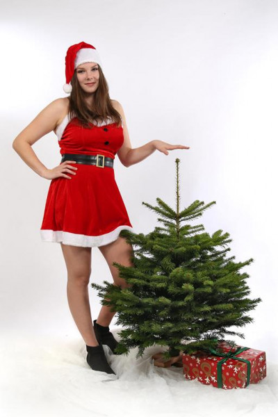 """Nordmanntanne 80-95 cm """"Der niedliche Olaf"""" jetzt inklusive Holzständer! Weihnachtsbaum Tannenbaum"""